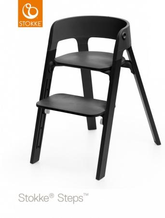 Stokke® Steps™ Chair Seat Black Legs Oak Wood Black
