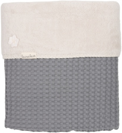 Koeka Wiegdeken Wafel/Teddy Oslo<br> Steel Grey/Pebble