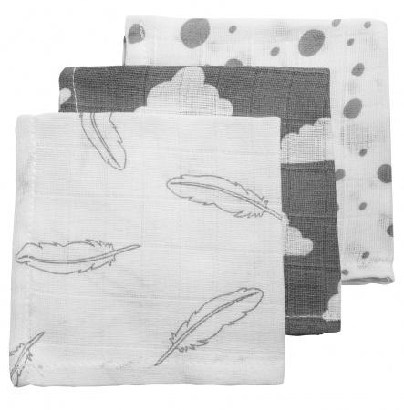 Meyco Monddoek Feather Grijs 3-Pack