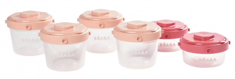Béaba Portion Clip Set 60/120ml <br> Powder Pink
