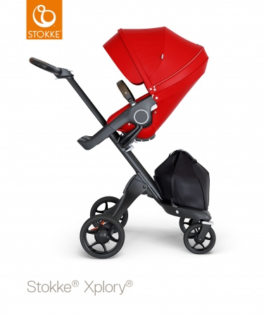 Stokke® Xplory® V6 Red Seat / Black Chassis - Brown Leatherette Handle
