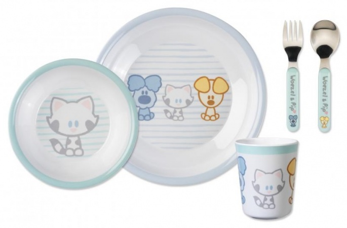 Bambolino 5-Delig Servies Woezel & Pip Baby Blue