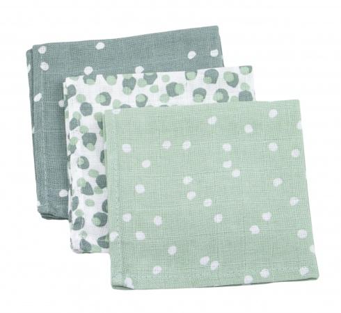 Briljant Monddoek Spots Stone Green 3-Pack