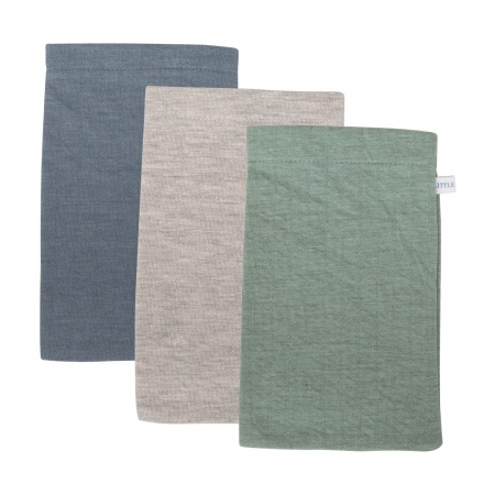 Little Dutch Washand 3Stuks<br> Pure Mint/Grey/Blue