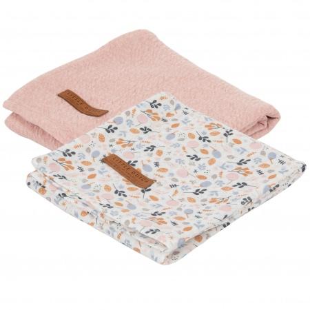 Little Dutch Swaddle 2Stuks Pure Pink/Spring Flower <br> 70x70