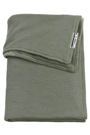 Meyco Ledikantdeken Knit Basic Forest Green Met Velvet<br> 100 x 150 cm