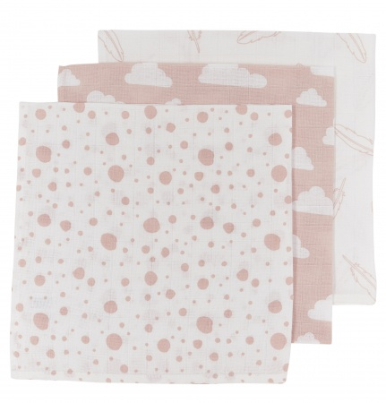 Meyco Hydrofiele Luiers 3pack <br> Print Roze