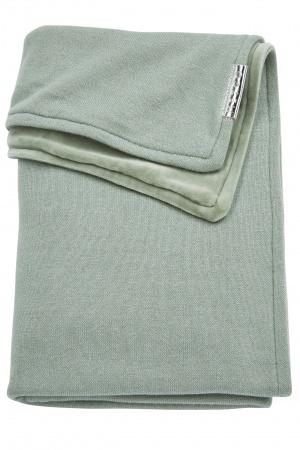 Meyco Ledikantdeken Knit Basic Stone Green Met Velvet<br> 100 x 150 cm