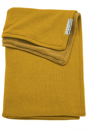 Meyco Deken Knit Basic Geel Met Velvet<br> 75 x 100 cm