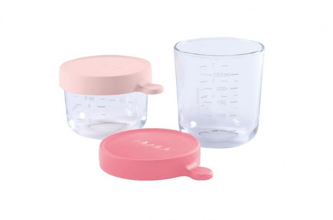 Beaba Portion Set Glas Pink/Dark Pink