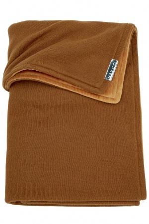 Meyco Ledikantdeken Knit Basic Camel Met Velvet<br> 100 x 150 cm
