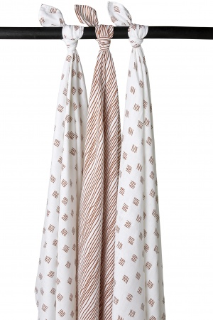 Meyco Swaddle Block Stripe Camel 3pck