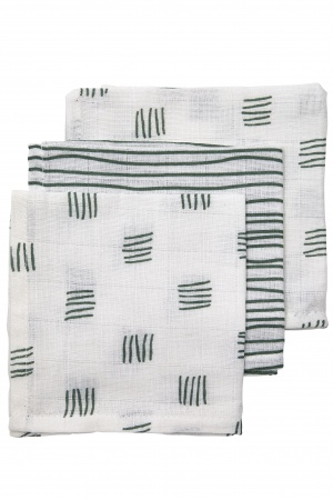 Meyco Monddoekjes Block Stripe Forest Green 3pck