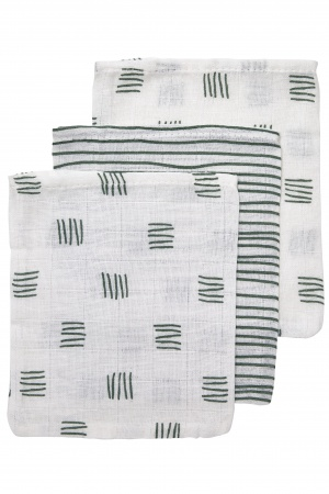 Meyco Washand Block Stripe Forest Green 3-Pack