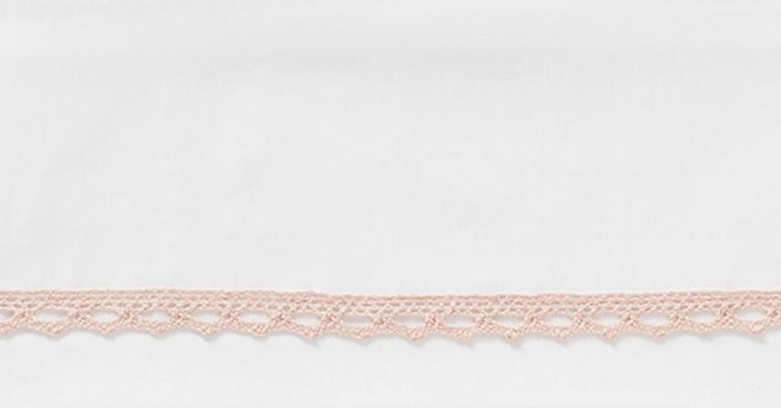 Cottonbaby Ledikantlaken Wit Broderiekant Oudroze <br/ > 120 x 150 cm