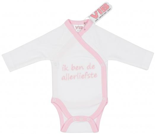 VIB Romper Ik Ben De Allerliefste Wit/Roze