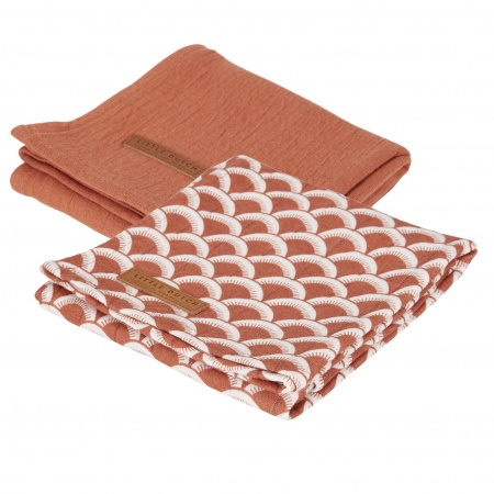 Little Dutch Swaddle 2 Stuks Sunrise Rust / Pure Rust <br> 70x70