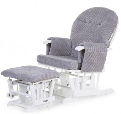 Childhome Gliding Chair Wit Grijs Ribfluweel Inclusief Voetenbank