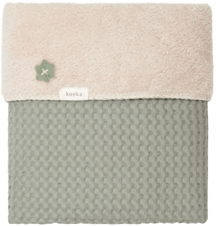 Koeka Wiegdeken Wafel/Teddy Oslo Shadow Green/Soft Sand