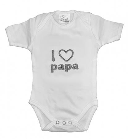La Petite Couronne Romper I Love Papa White Silver