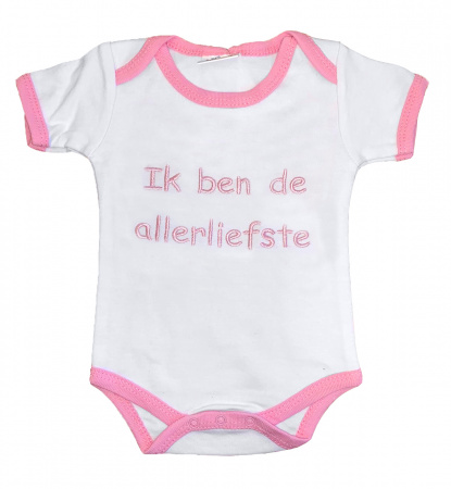 La Petite Couronne Romper Ik Ben De Allerliefste White Pink
