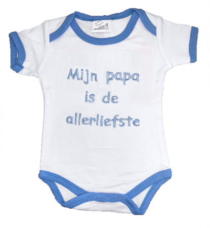 La Petite Couronne Romper Papa Is De Allerliefste White Blue