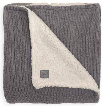 Jollein Ledikantdeken Teddy Bliss Knit Storm Grey <br>100 x 150 cm