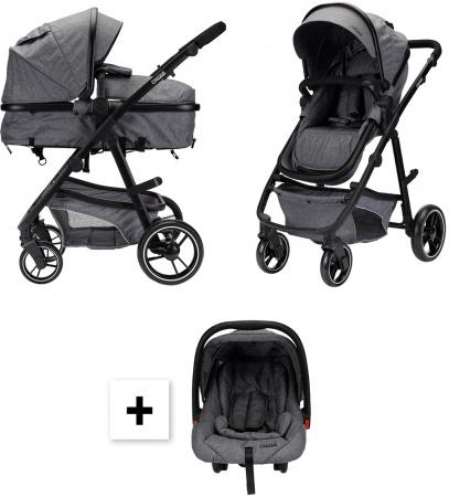 Kinderwagen On Tour 3 in 1 Grey Melange Inclusief Autostoel