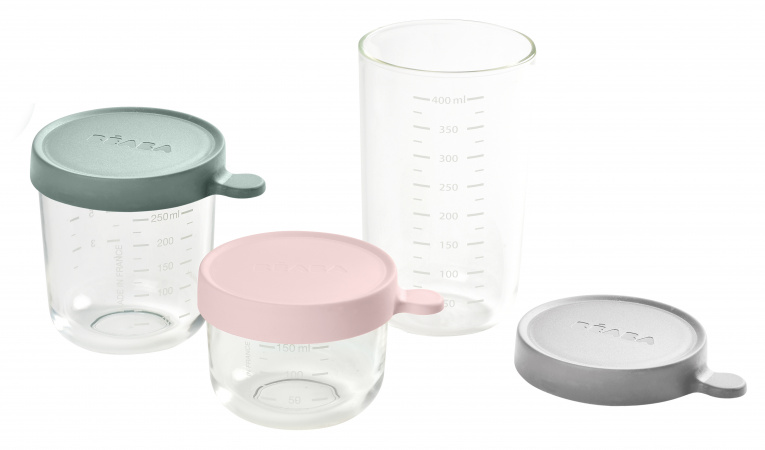 Beaba Portion Set Glas Pink/Eculyptus Green/Light Mist