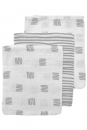 Meyco Washand Block Stripe Grijs 3-Pack