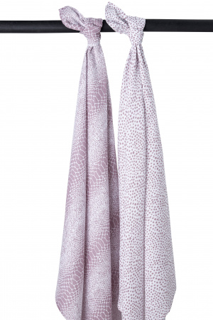 Meyco Swaddle Snake / Cheetah Lilac 2-Pack