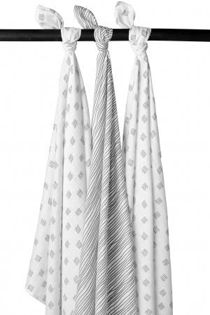 Meyco Swaddle Block Stripe Grijs 3-Pack