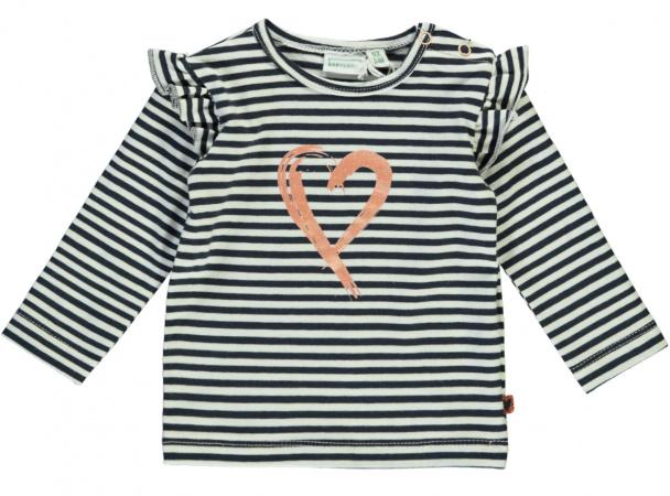 Babylook T-Shirt Ruffle Heart Stripe