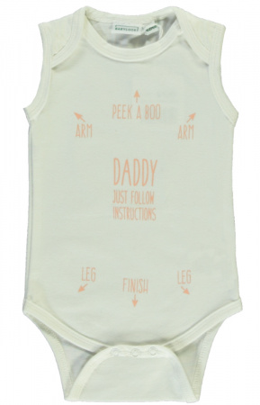 Babylook Romper Zonder Mouw Instructions White / Pink