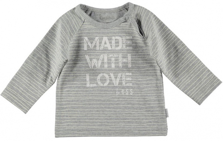 BESS T-Shirt Made With Love Pinstripe Grey