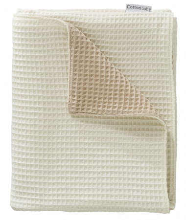Cottonbaby Wiegdeken Wafel 2-zijdig Zand/Room <br/ > 75 x 90 cm