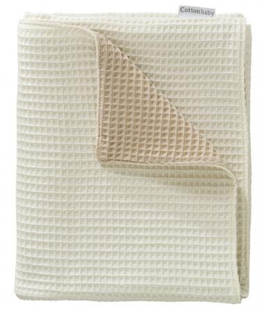 Cottonbaby Ledikantdeken Wafel 2-zijdig Zand/Room <br/ > 120 x 150 cm
