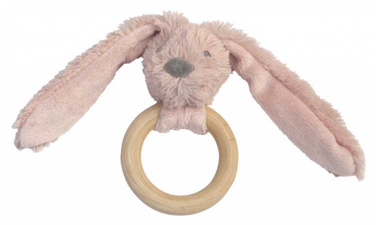 Happy Horse Rabbit Richie FSC Wooden Teething Ring Old Pink 12 cm