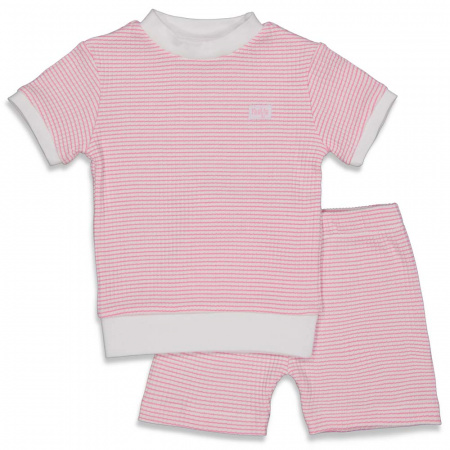 Feetje Pyjama Kort Wafel Roze