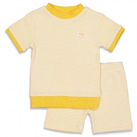 Feetje Pyjama Kort Wafel Okergeel
