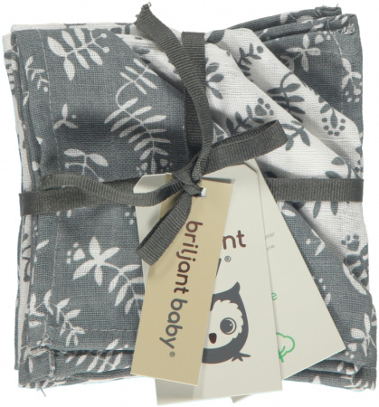 Briljant Monddoek Botanic Organic Blauw Grijs 4-Pack