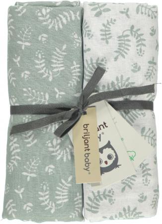 Briljant Swaddle Botanic Organic Stonegreen <br> 120 x 120 cm 2-Pack