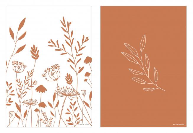Little Dutch Poster A3 Wild Flowers Rust
