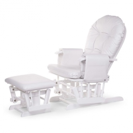 Childhome Gliding Chair Rond Inclusief Voetenbank Wit + Wit Frame