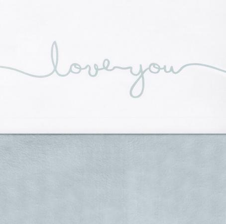 Jollein ledikantlaken Love You Stone Green 120 x 150 cm