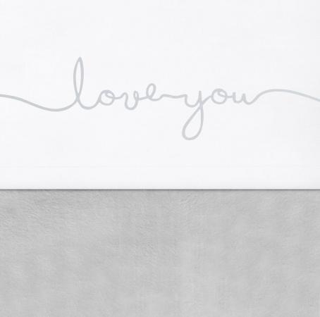 Jollein ledikantlaken Love You Grey <BR> 120 x 150 cm