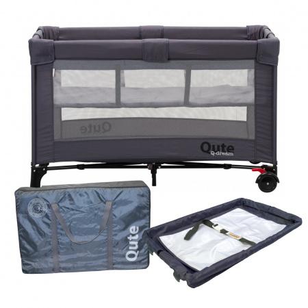 Campingbed Qute Q-dream Grijs Inclusief Qute Campingbedmatras Grijs + Q-switch Antraciet