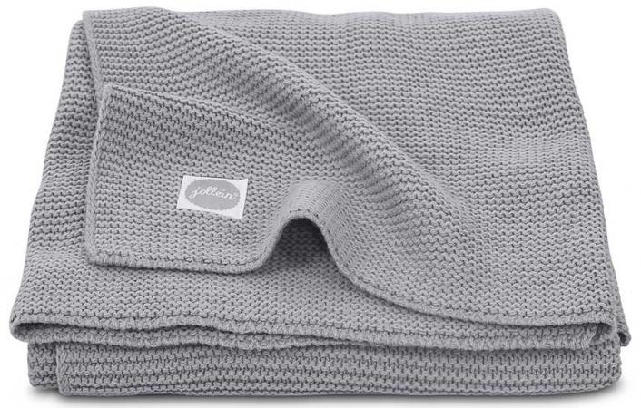 Jollein Wiegdeken Basic Knit Stone Grey <br>75 x 100 cm