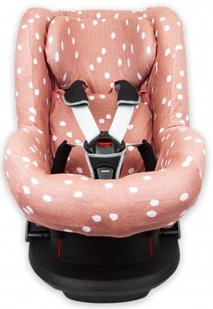 Briljant Autostoelhoes Spots Grey Pink 1+ Met Hoofdsteun
