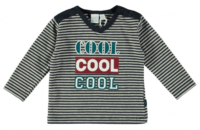 Babylook T-Shirt Cool Stripe Grey Melee /  Navy